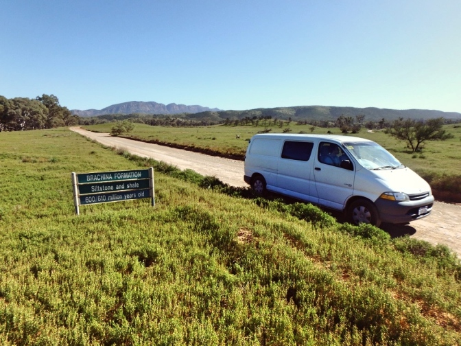 Van leaving Trezona, Flinders Ranges, South Australia