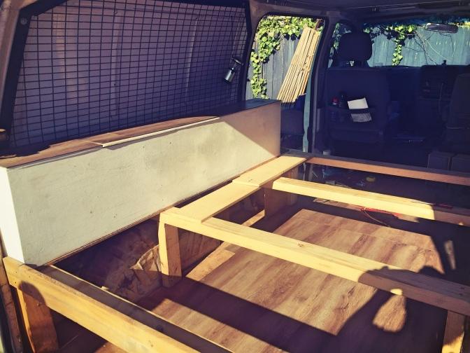 Bedframe in Toyota HiAce campervan