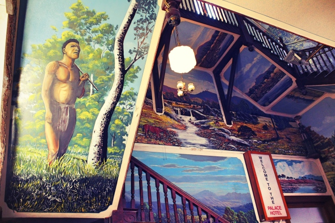 Staircase and murals within the Palace Hotel, Broken Hill
