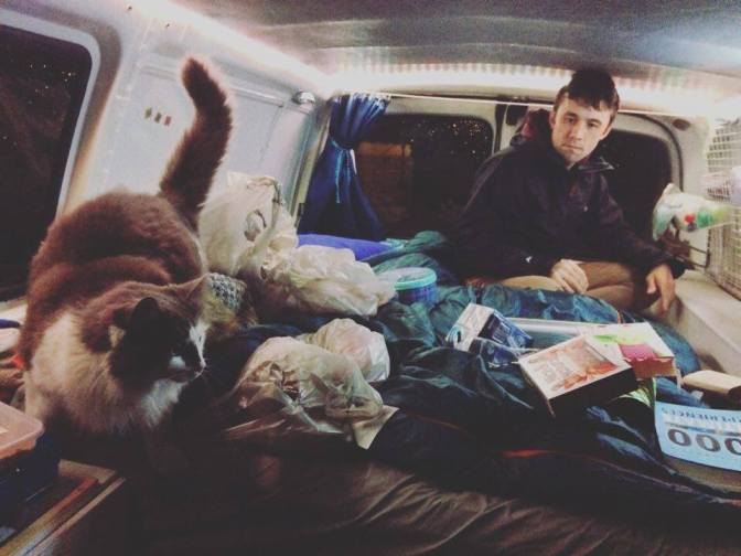 Getting the van organised with help from cat