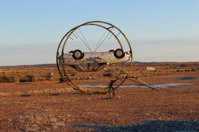 Upsidedown car in sculpture park, Oodnadatta Track