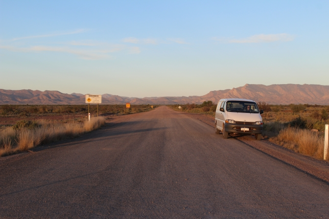 Campervan leaving Parachilna Gorge, South Australia