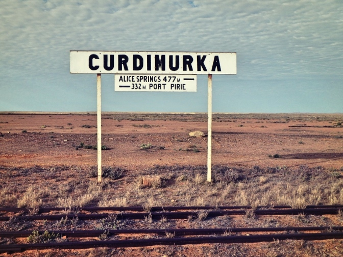 Curdimurka railway station sign, South Australia