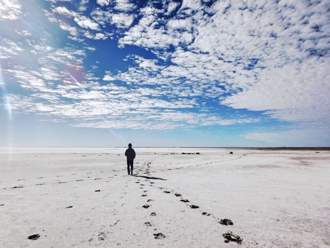 Walking the salt flats, Lake Eyre South, South Australia