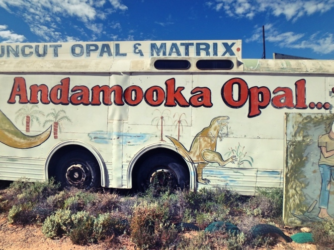 Opal gallery in bus, Andamooka, South Australia