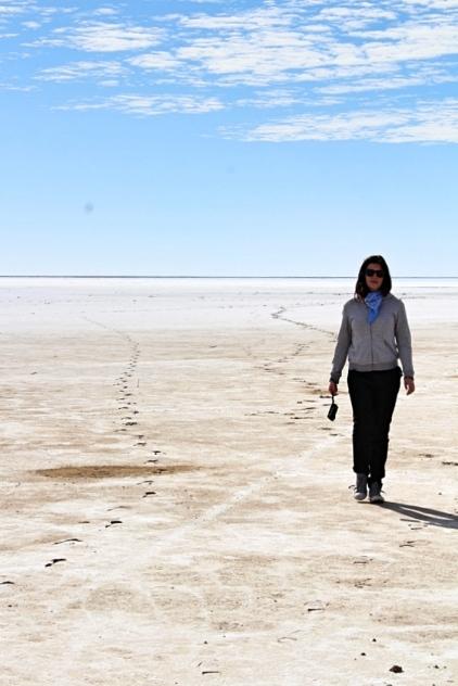 Shelley walking salt flats, Lake Eyre South, South Australia