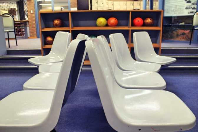 Inside 1960s bowling alley, Woomera, South Australia