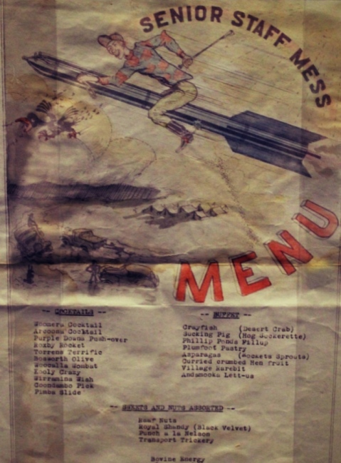 Navy menu in the 1960s, Woomera, South Australia