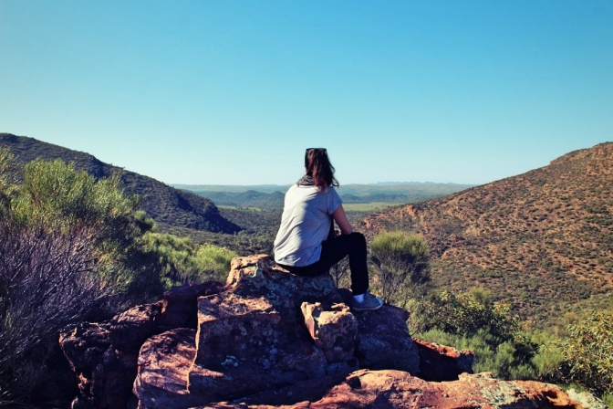 Shelley at Wilpena Pound lookout, Flinders Ranges, South Australia