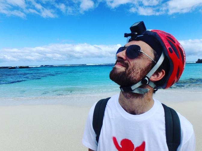 Gareth with go pro and helmet, Rottnest Island, Western Australia