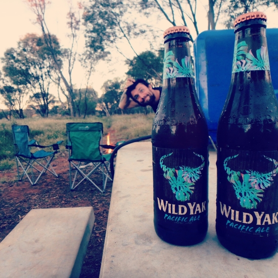 Wild Yak beer at campsite, Pilbara, Western Australia