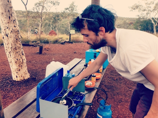 Cooking oysters, Karijini National Park, Western Australia