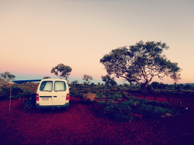 Campervan in Karajini Eco Resort campground, Western Australia