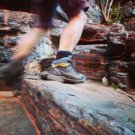 Hiking boots in Kaijini, Western Australia