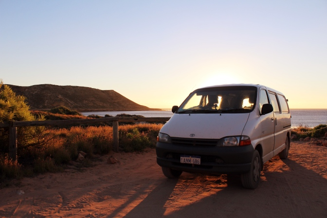Sunset campervan Red Bluff Western Australia