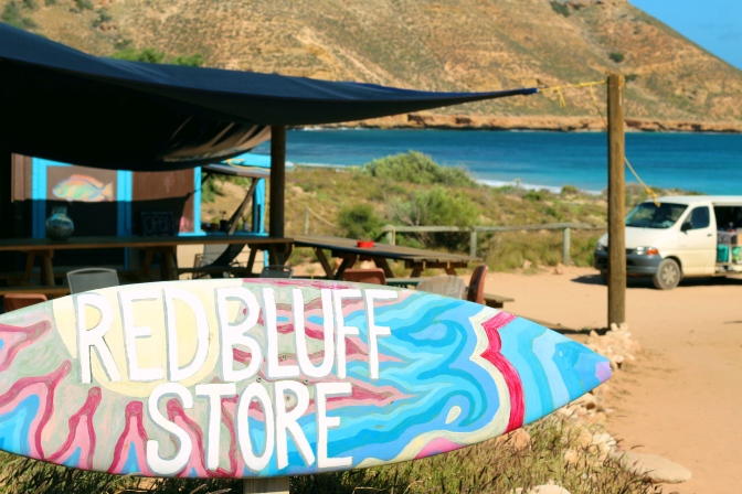 Red Bluff store surfboard sign Western Australia