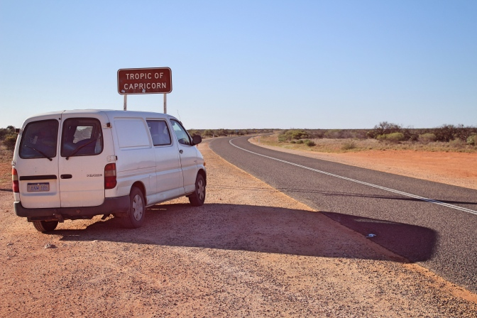 Camper van with Tropic of Capricorn sign