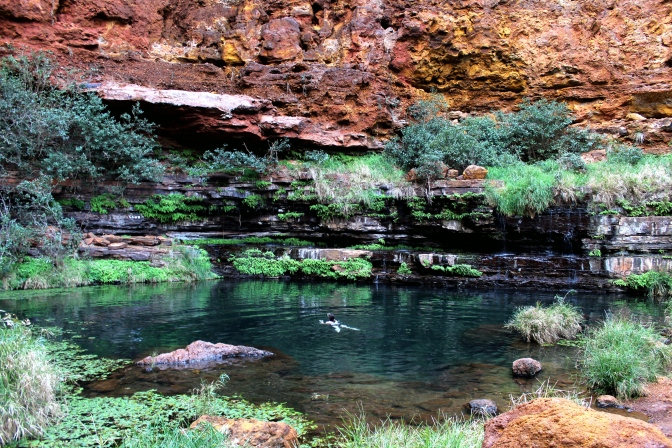 Swimming in Circular Pool, Karijini, Western Australia