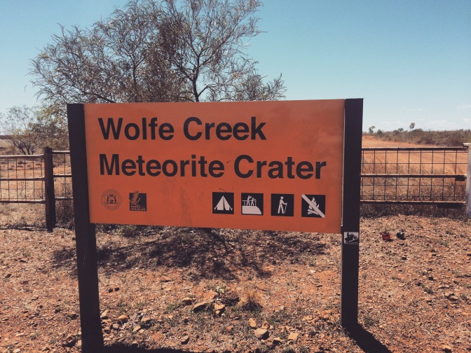 Wolfe Creek Meteorite Crater sign, Western Australia