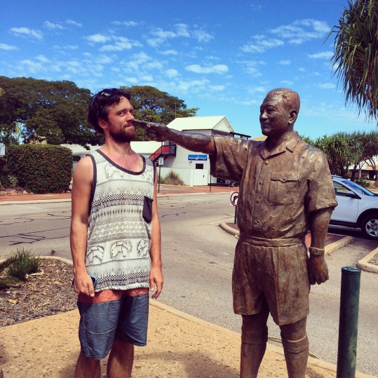 Gareth with statue, Broom town centre, Western Australia