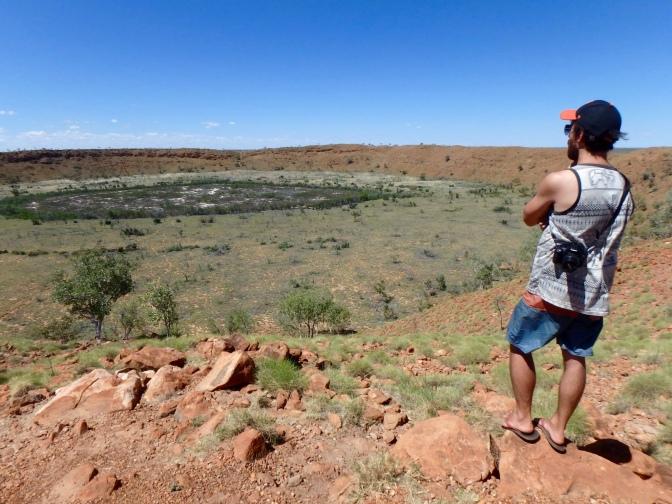 On the rim of Wolfe Creek Meteorite Crater, Western Australia