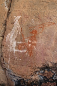 Kangaroo hunter rock art Ubirr, Kakadu National Park, Northern Territory