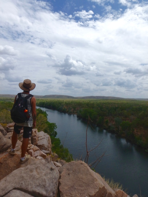 Man looking across Katherine Gorge, Northern Territory