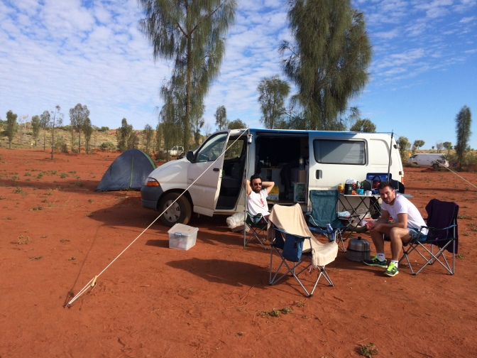 Uluru camp ground with campervan Ayers Rock Resort Northern Territory