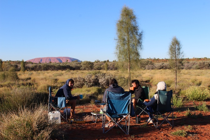 Campsite with Uluru in background Northern Territory