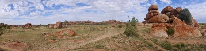 Wide shot, Devil's Marbles Karlu Karlu rock formation Northern Territory, Australia