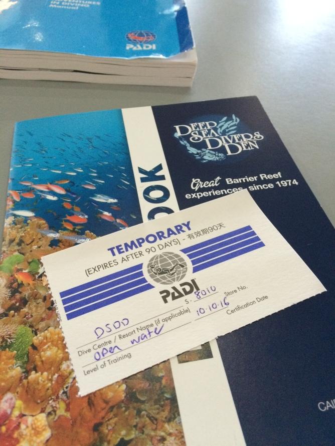Open water certificate, PADI