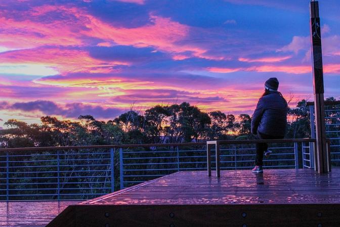 Sunset on the deck, Surveyors Cabin, Three Capes Track, Tasmania Australia
