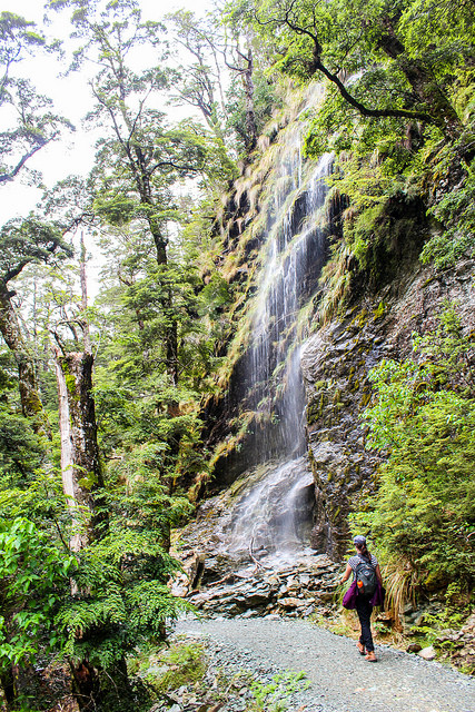 Waterfall near Routeburn Shelter, New Zealand