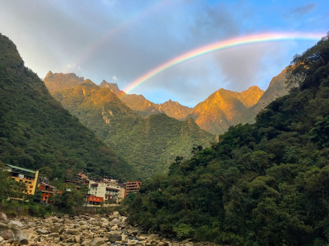 Double rainbow at Aguas Calientes, Peru
