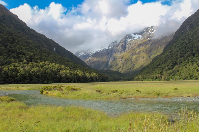Meadow and mountains, Routeburn Track, New Zealand
